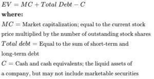 Formula y calculo para EV valor empresarial